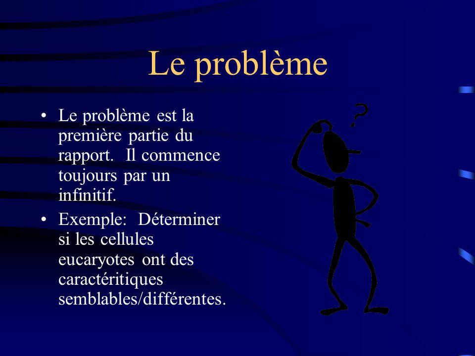 Le problème Le problème est la première partie du rapport. Il commence toujours par un infinitif.