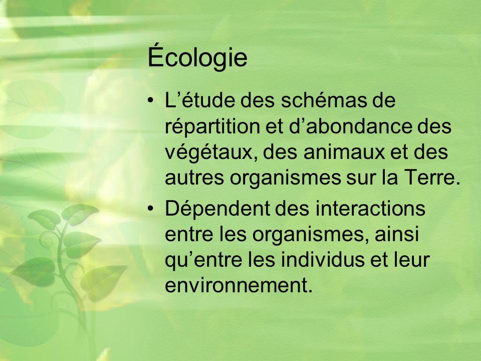 Écologie L'étude des schémas de répartition et d'abondance des végétaux, des animaux et des autres organismes sur la Terre.