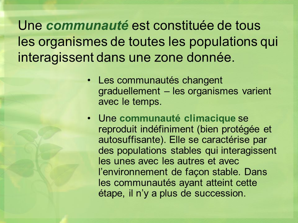 Une communauté est constituée de tous les organismes de toutes les populations qui interagissent dans une zone donnée.