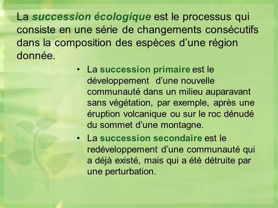 La succession écologique est le processus qui consiste en une série de changements consécutifs dans la composition des espèces d'une région donnée.