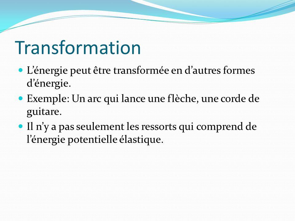 Transformation L'énergie peut être transformée en d'autres formes d'énergie. Exemple: Un arc qui lance une flèche, une corde de guitare.