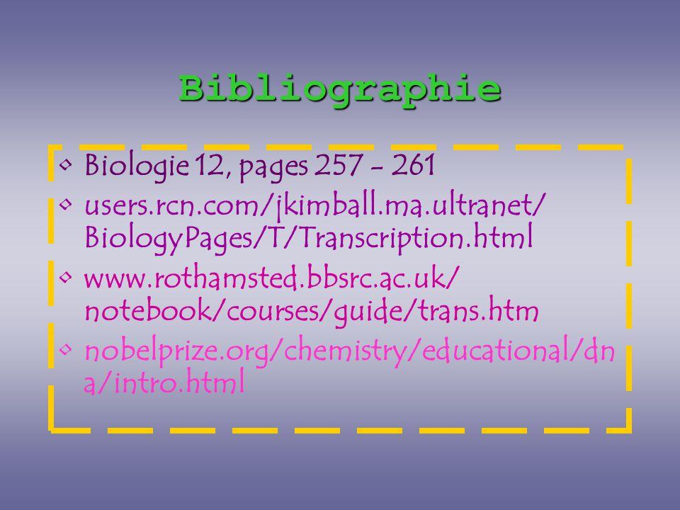 Bibliographie Biologie 12, pages 257 - 261