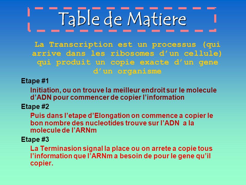 Table de Matiere Etape #1