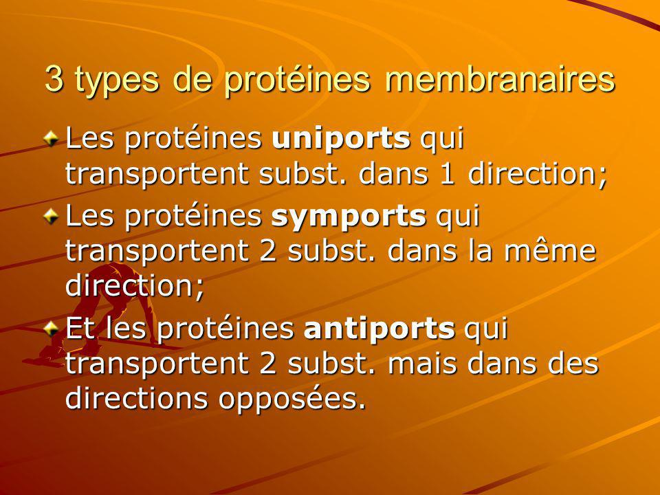3 types de protéines membranaires