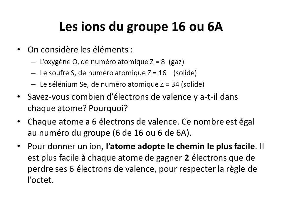 Les ions du groupe 16 ou 6A On considère les éléments :