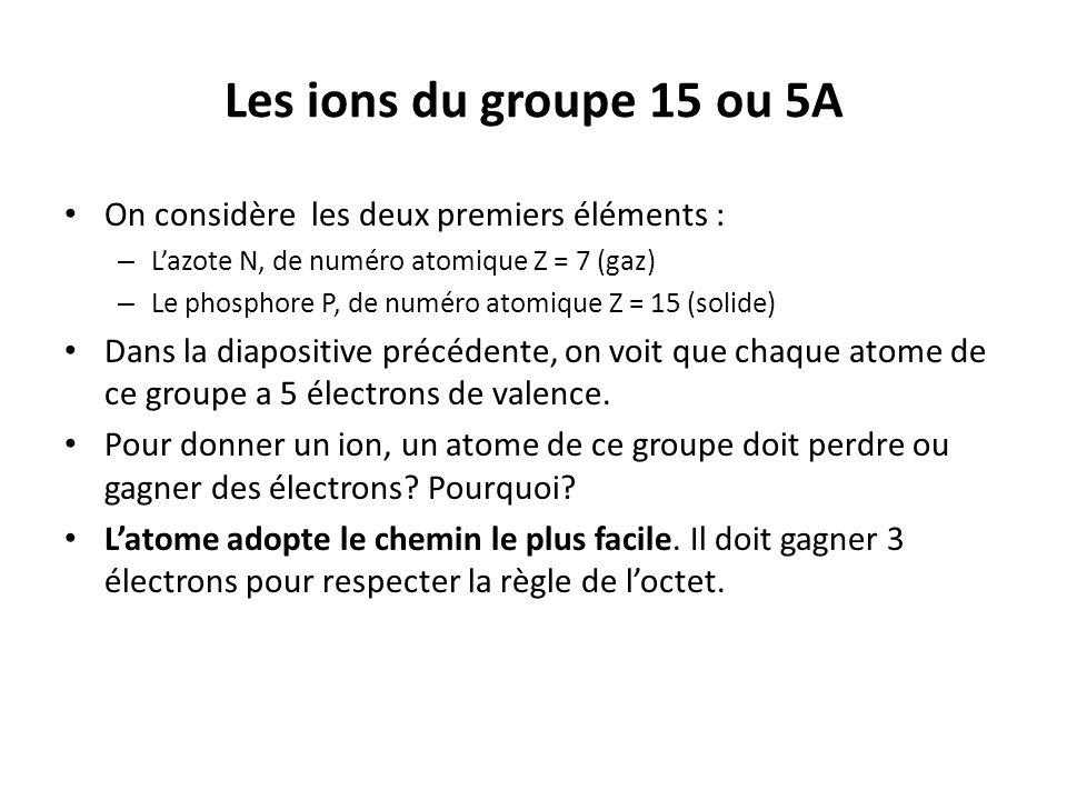Les ions du groupe 15 ou 5A On considère les deux premiers éléments :