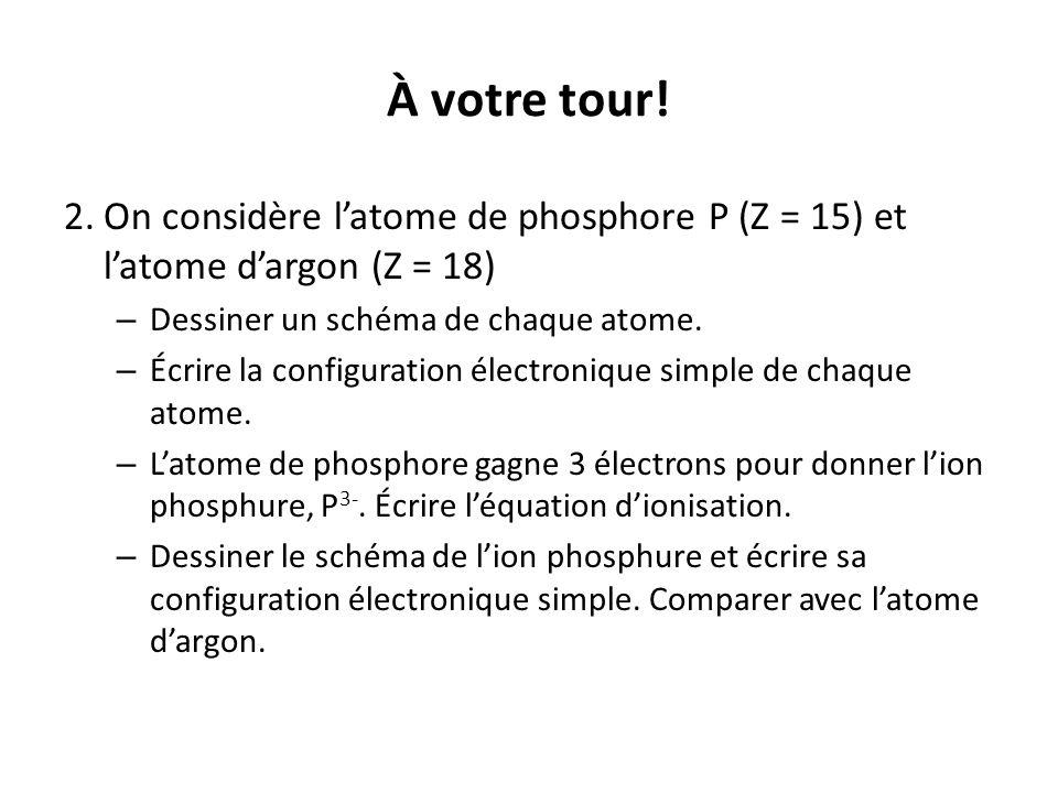 À votre tour! 2. On considère l'atome de phosphore P (Z = 15) et l'atome d'argon (Z = 18) Dessiner un schéma de chaque atome.