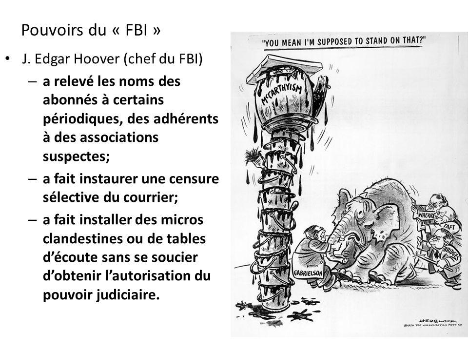 Pouvoirs du « FBI » J. Edgar Hoover (chef du FBI)