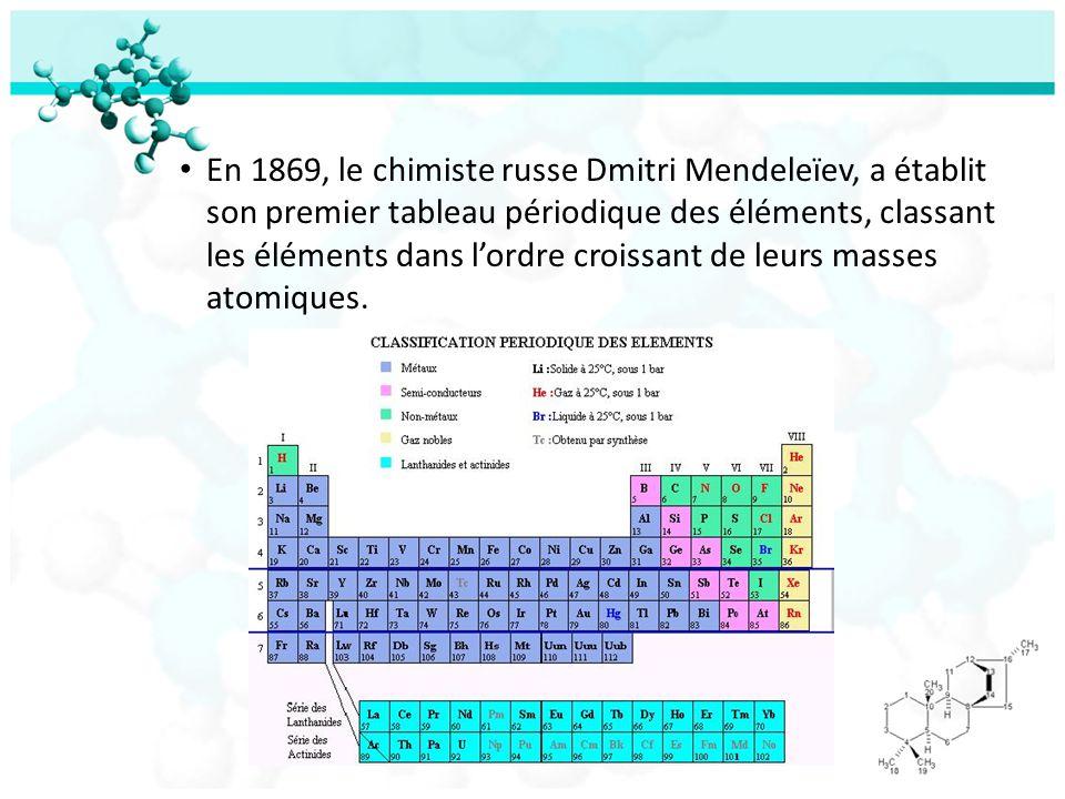 En 1869, le chimiste russe Dmitri Mendeleïev, a établit son premier tableau périodique des éléments, classant les éléments dans l'ordre croissant de leurs masses atomiques.