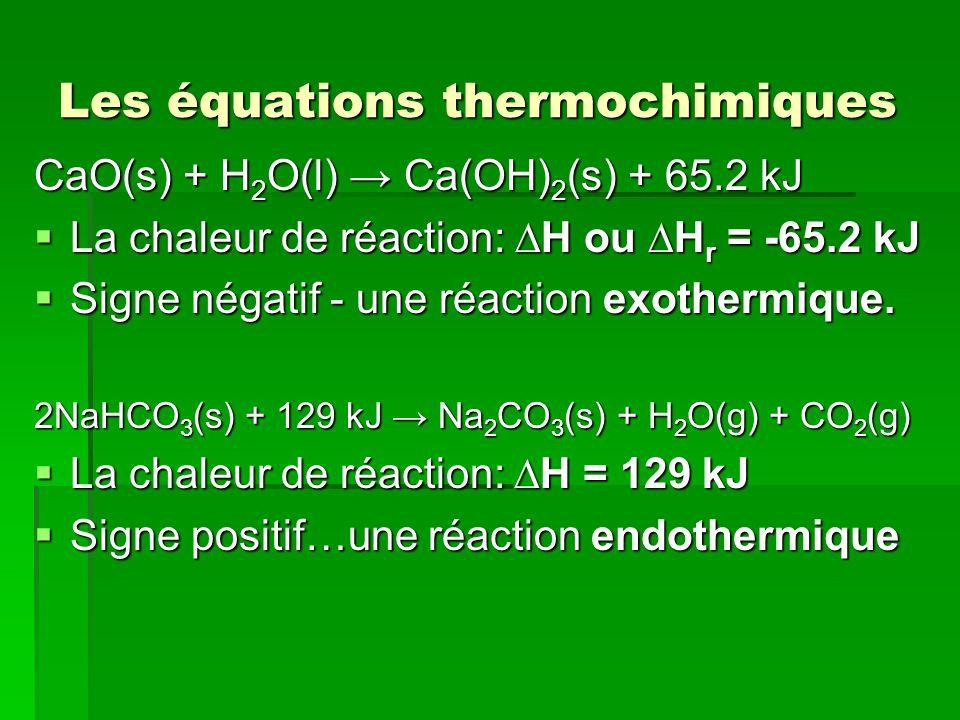 Les équations thermochimiques