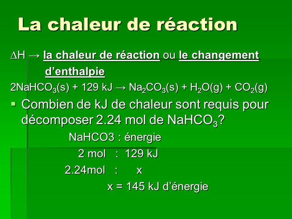 La chaleur de réaction ∆H → la chaleur de réaction ou le changement. d'enthalpie. 2NaHCO3(s) + 129 kJ → Na2CO3(s) + H2O(g) + CO2(g)