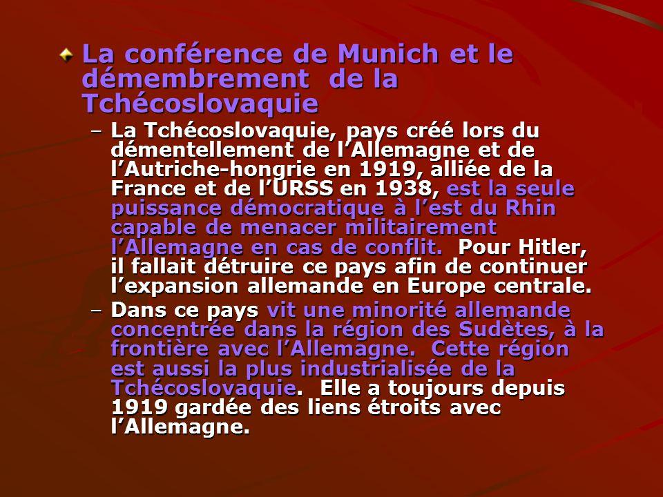 La conférence de Munich et le démembrement de la Tchécoslovaquie