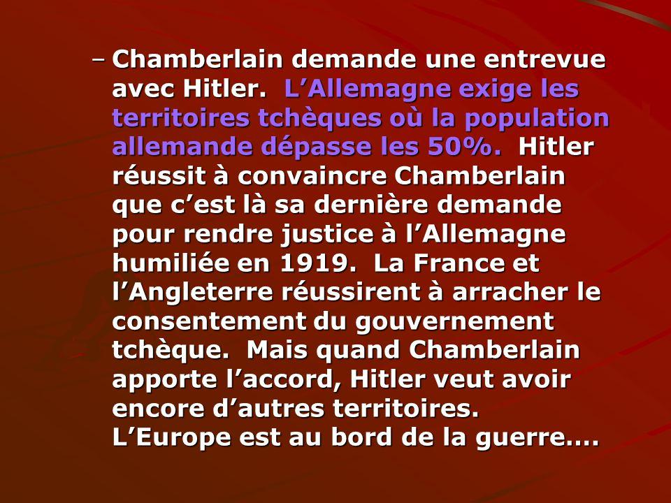 Chamberlain demande une entrevue avec Hitler