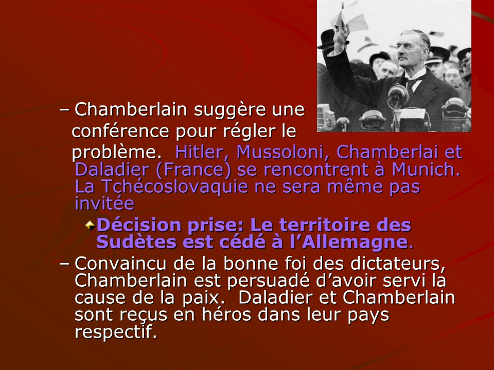 Chamberlain suggère une