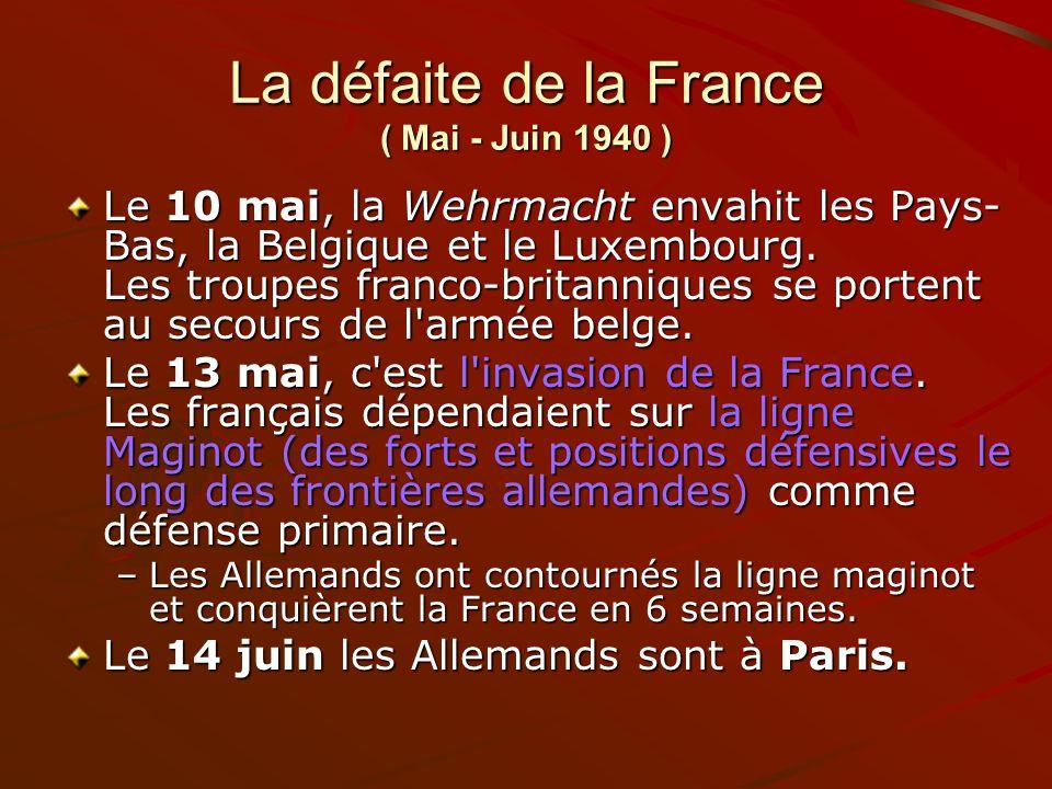 La défaite de la France ( Mai - Juin 1940 )