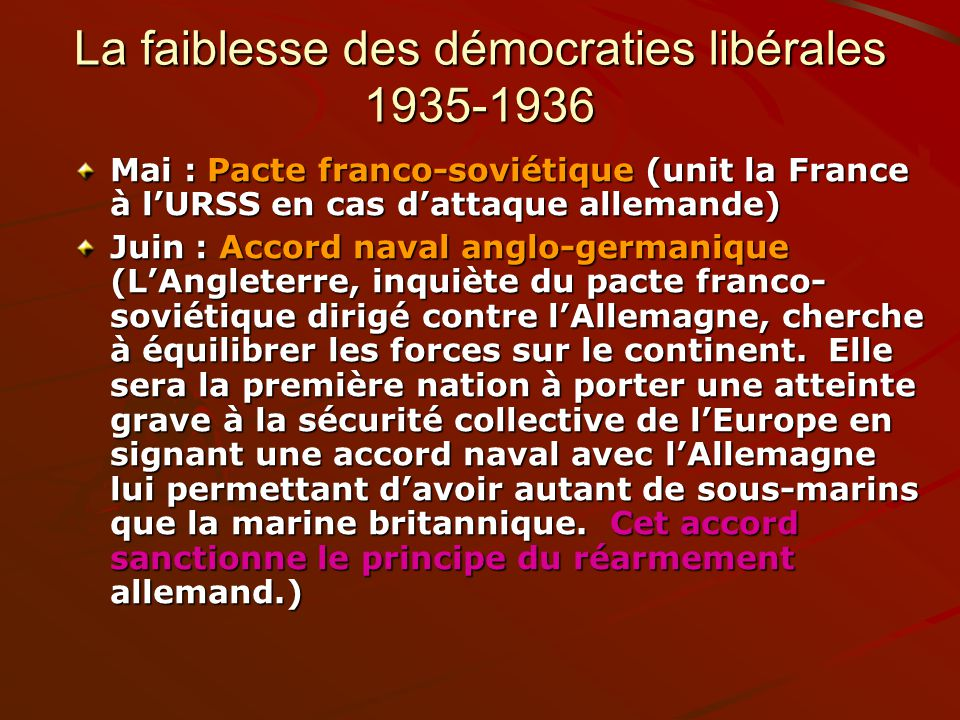 La faiblesse des démocraties libérales 1935-1936