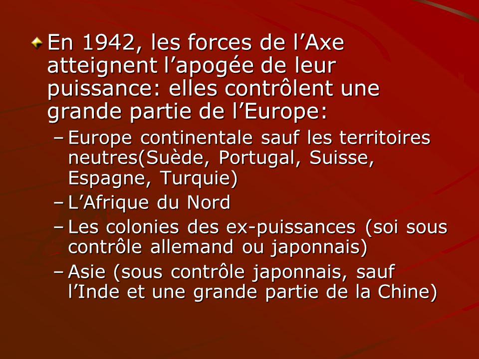 En 1942, les forces de l'Axe atteignent l'apogée de leur puissance: elles contrôlent une grande partie de l'Europe: