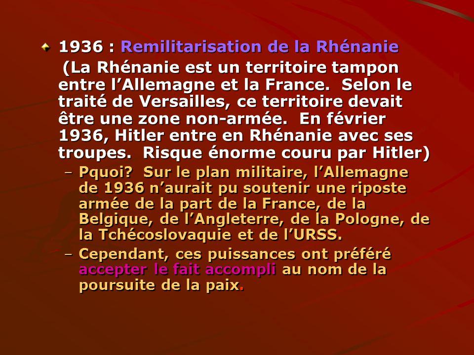 1936 : Remilitarisation de la Rhénanie