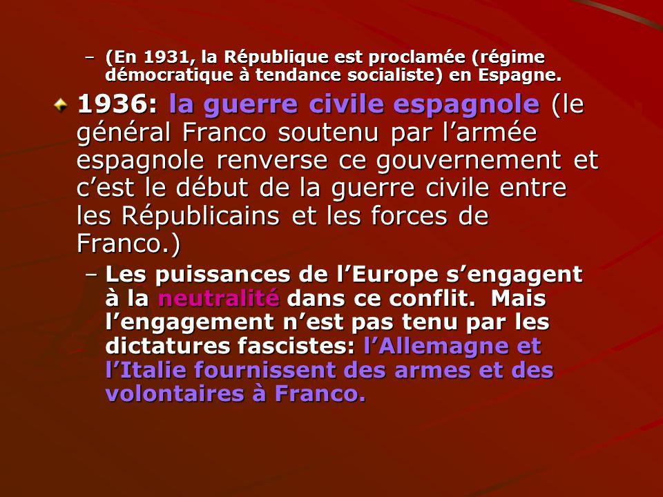 (En 1931, la République est proclamée (régime démocratique à tendance socialiste) en Espagne.