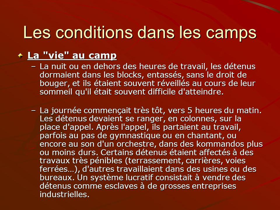 Les conditions dans les camps