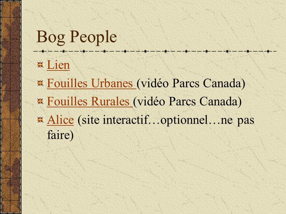 Bog People Lien Fouilles Urbanes (vidéo Parcs Canada)