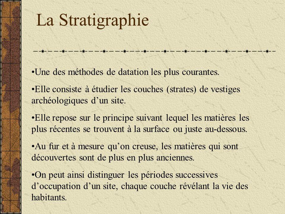 La Stratigraphie Une des méthodes de datation les plus courantes.