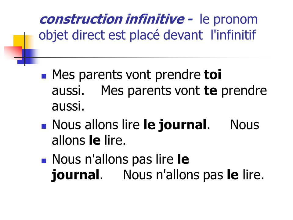 construction infinitive - le pronom objet direct est placé devant l infinitif