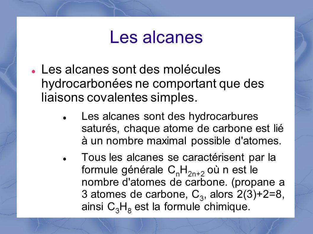 Les alcanes Les alcanes sont des molécules hydrocarbonées ne comportant que des liaisons covalentes simples.
