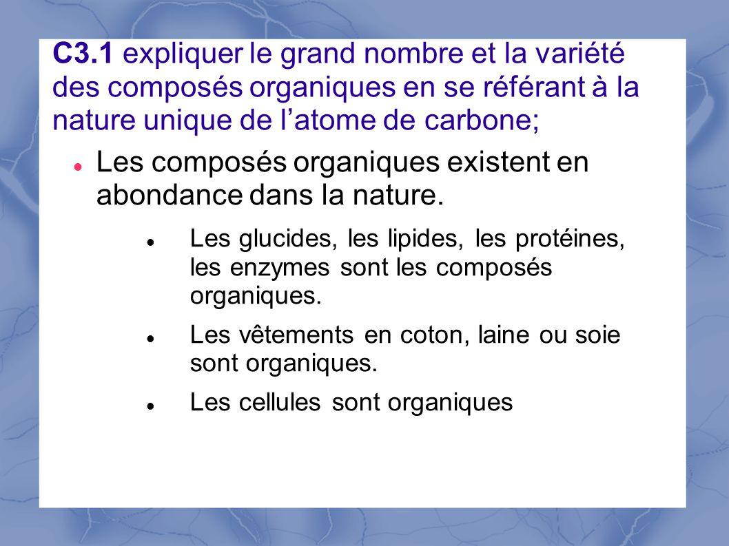 Les composés organiques existent en abondance dans la nature.