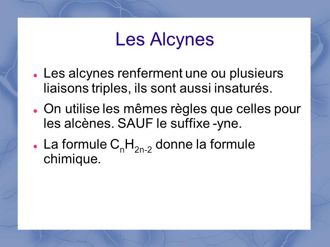 Les Alcynes Les alcynes renferment une ou plusieurs liaisons triples, ils sont aussi insaturés.