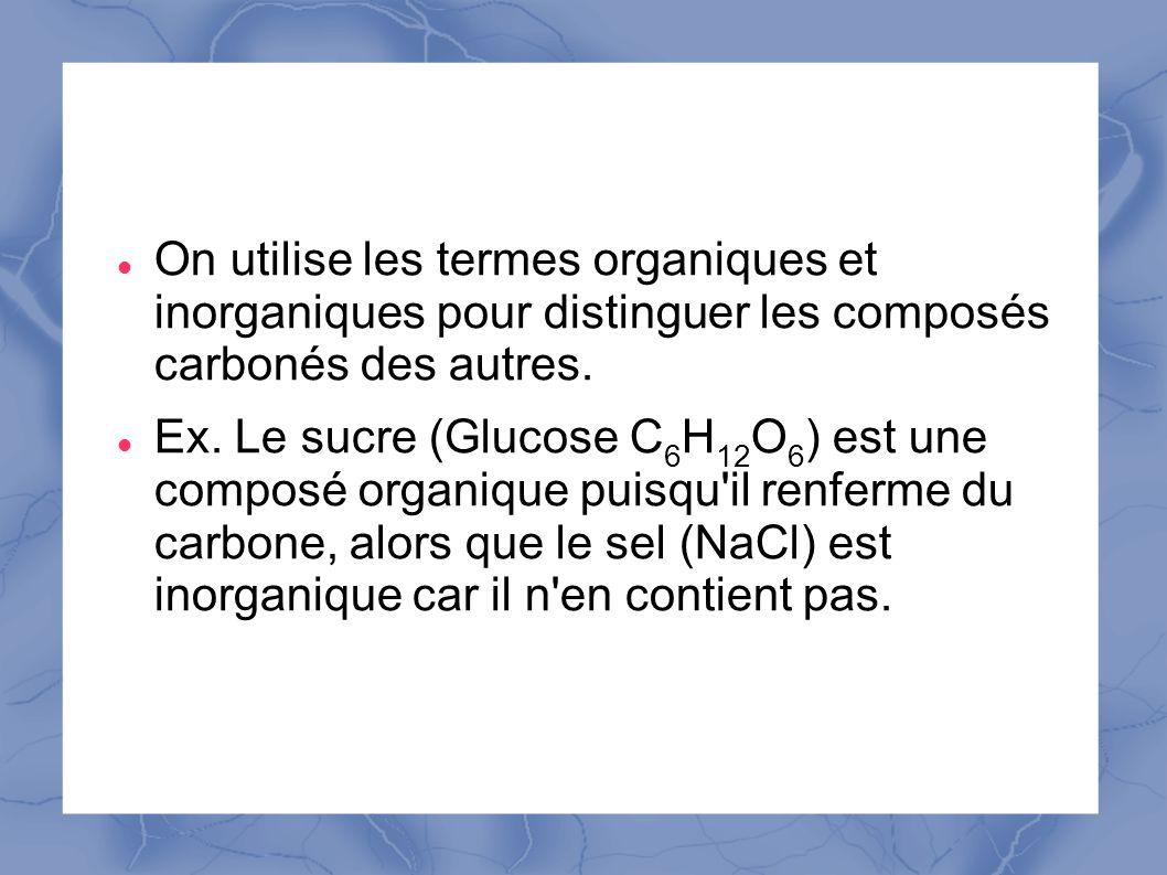 On utilise les termes organiques et inorganiques pour distinguer les composés carbonés des autres.