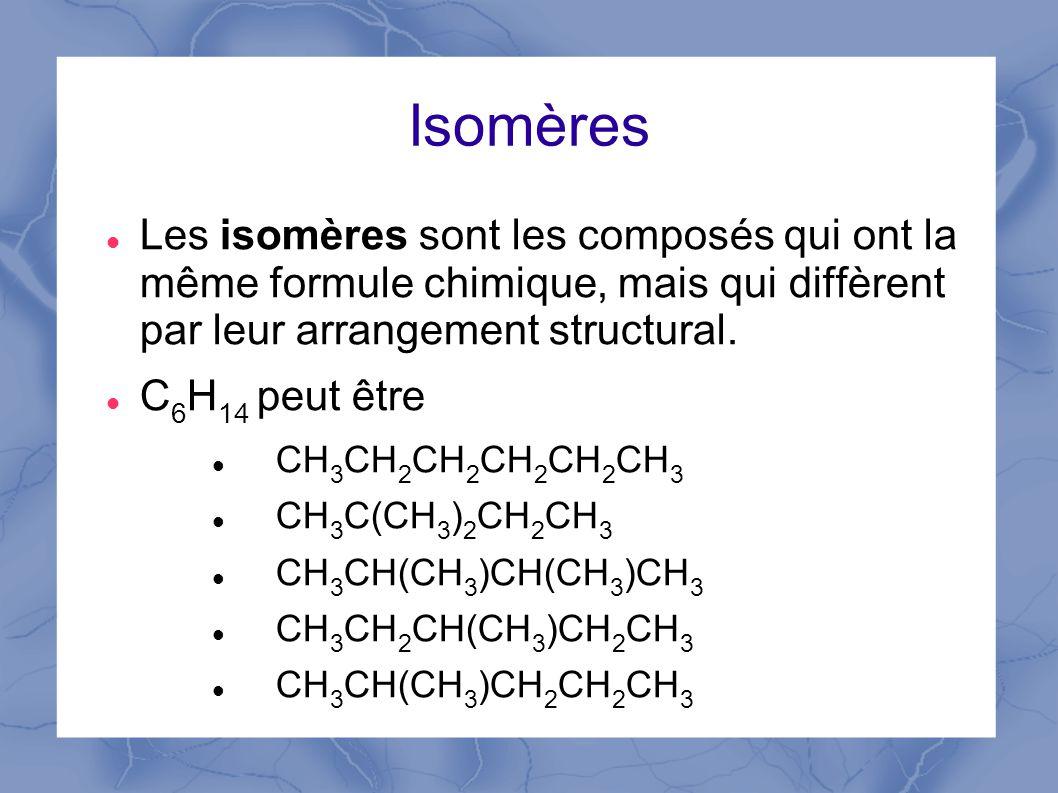 Isomères Les isomères sont les composés qui ont la même formule chimique, mais qui diffèrent par leur arrangement structural.