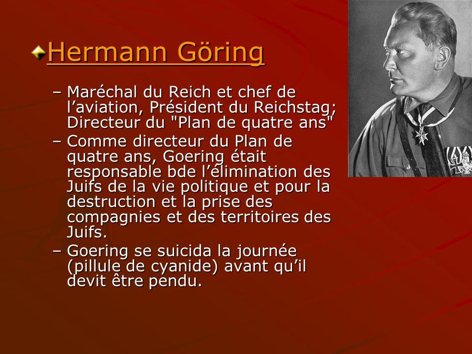 Hermann Göring Maréchal du Reich et chef de l'aviation, Président du Reichstag; Directeur du Plan de quatre ans