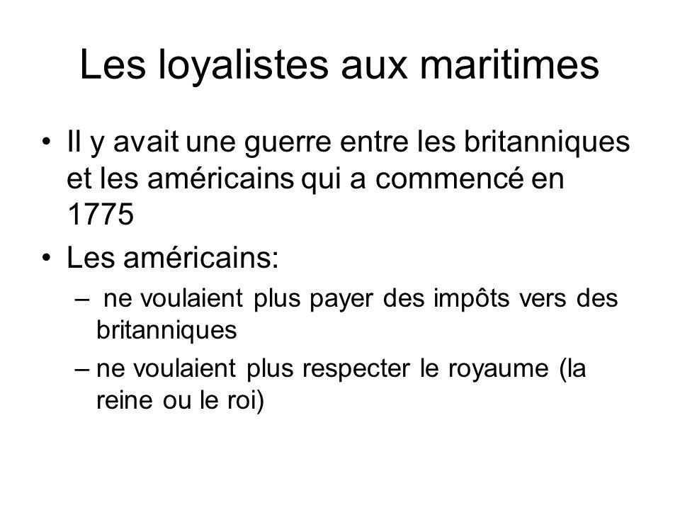 Les loyalistes aux maritimes