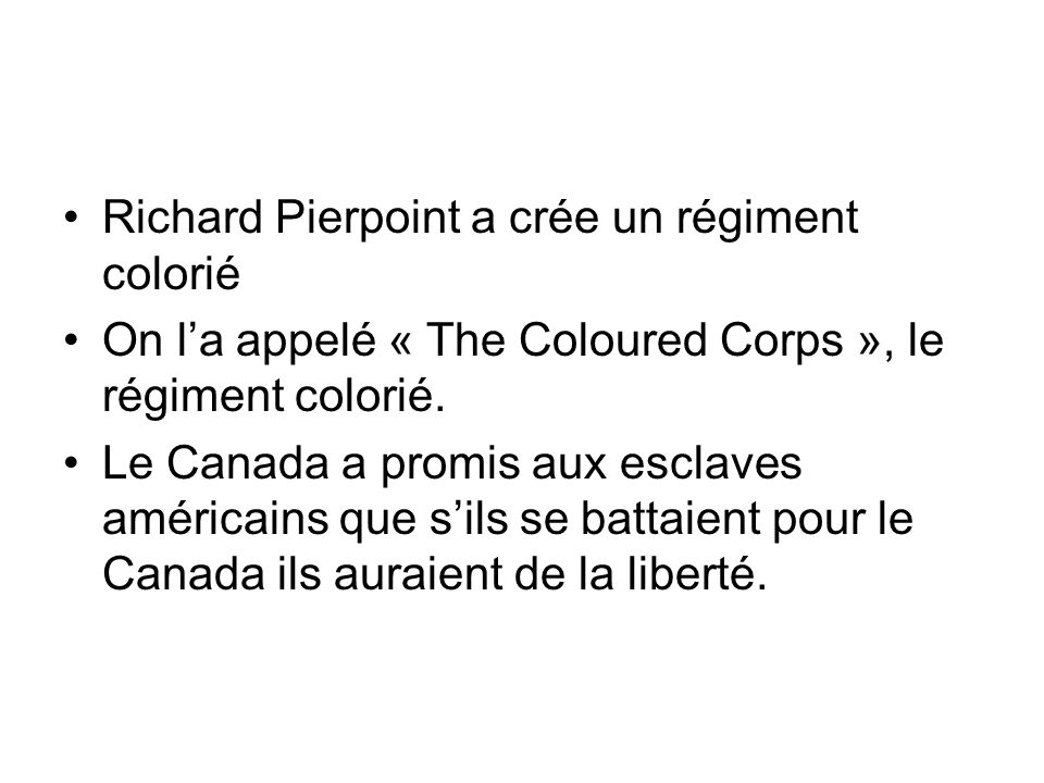 Richard Pierpoint a crée un régiment colorié