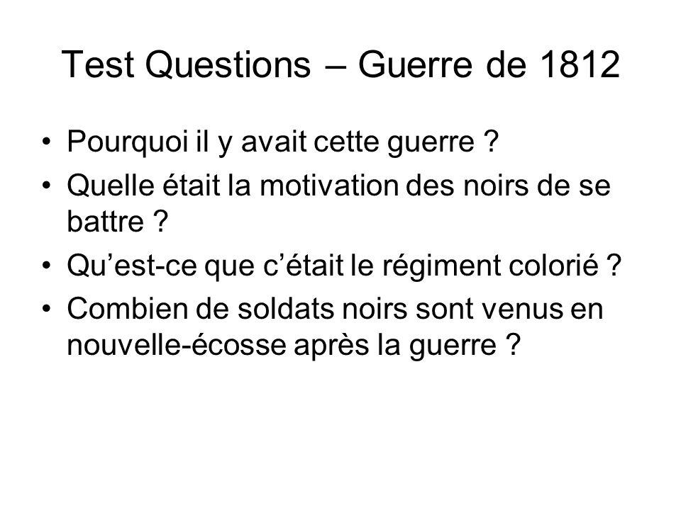 Test Questions – Guerre de 1812
