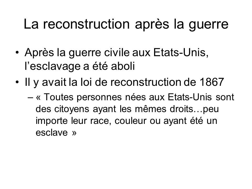 La reconstruction après la guerre