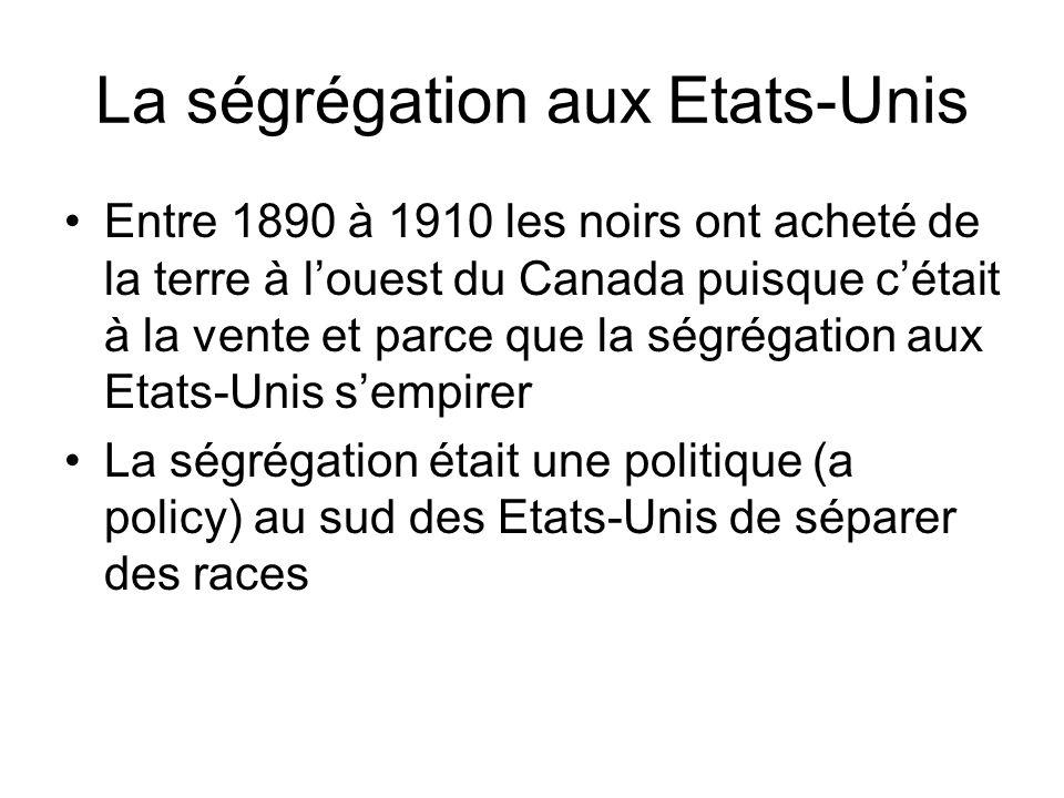 La ségrégation aux Etats-Unis