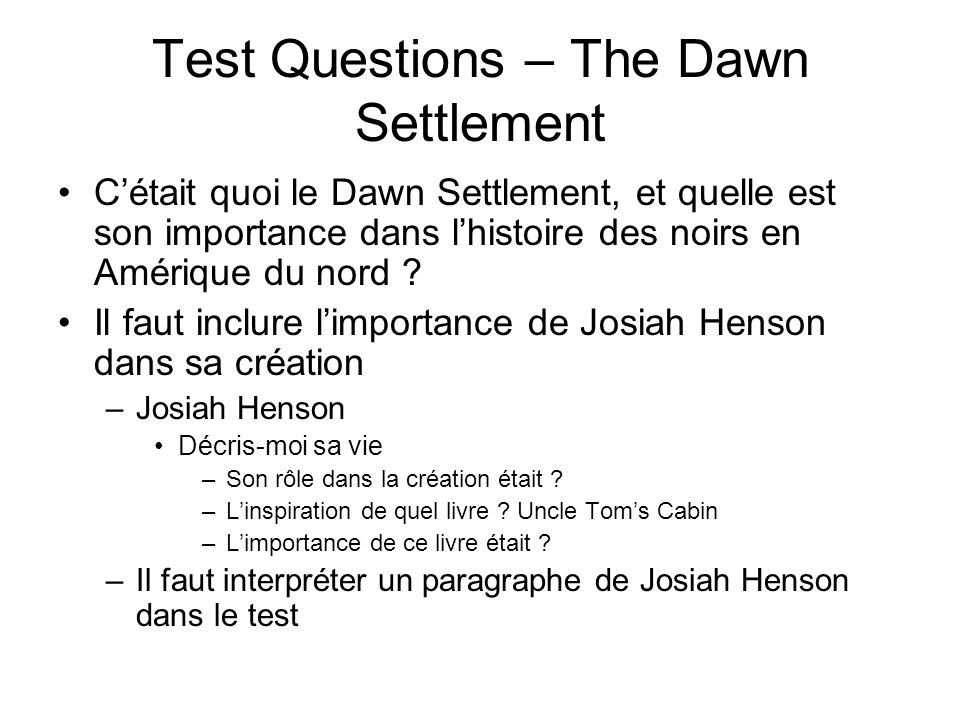 Test Questions – The Dawn Settlement