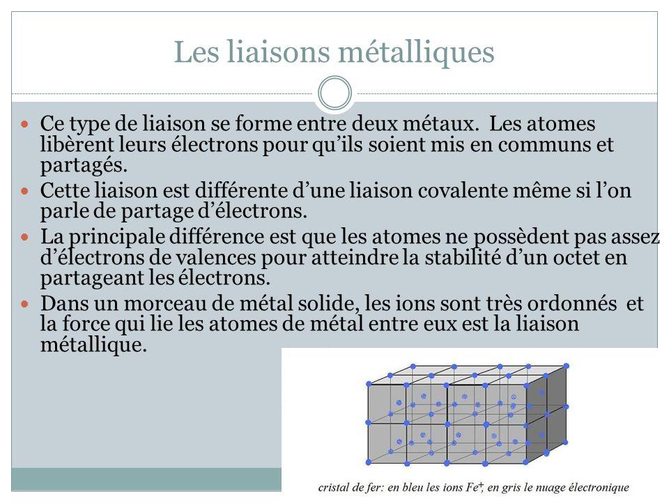 Les liaisons métalliques