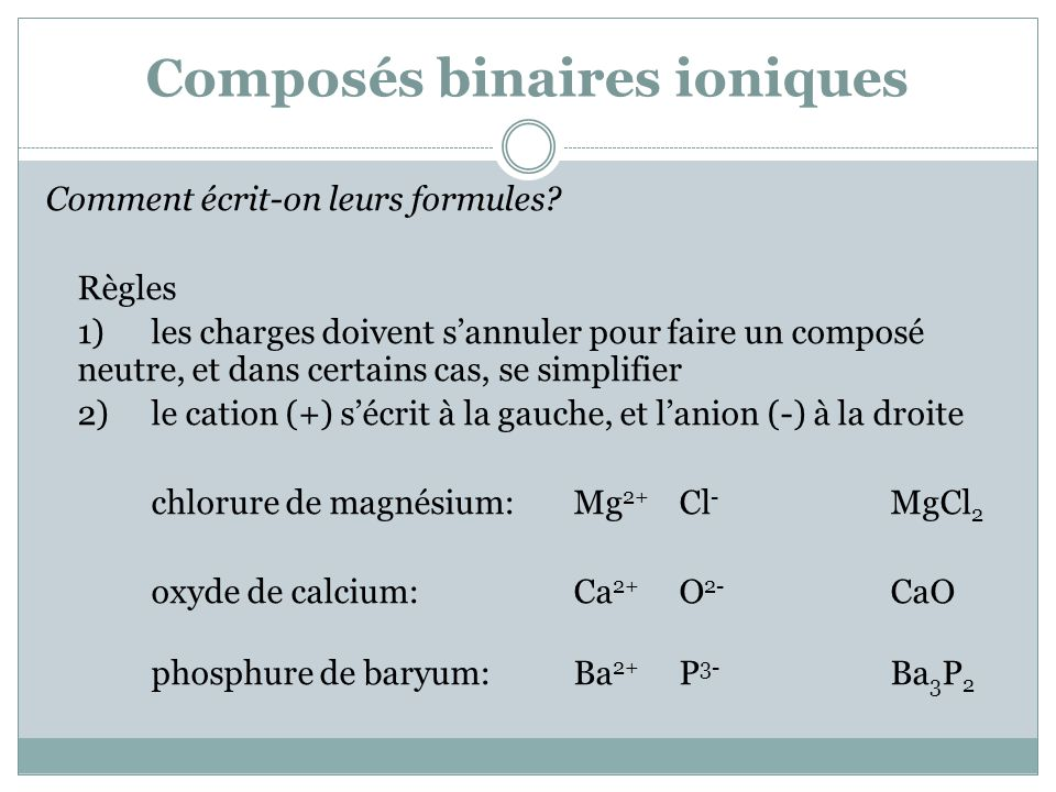 Composés binaires ioniques