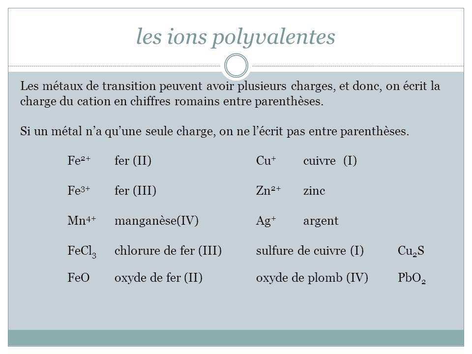 les ions polyvalentes Les métaux de transition peuvent avoir plusieurs charges, et donc, on écrit la.