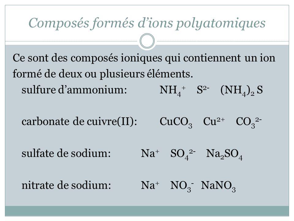 Composés formés d'ions polyatomiques