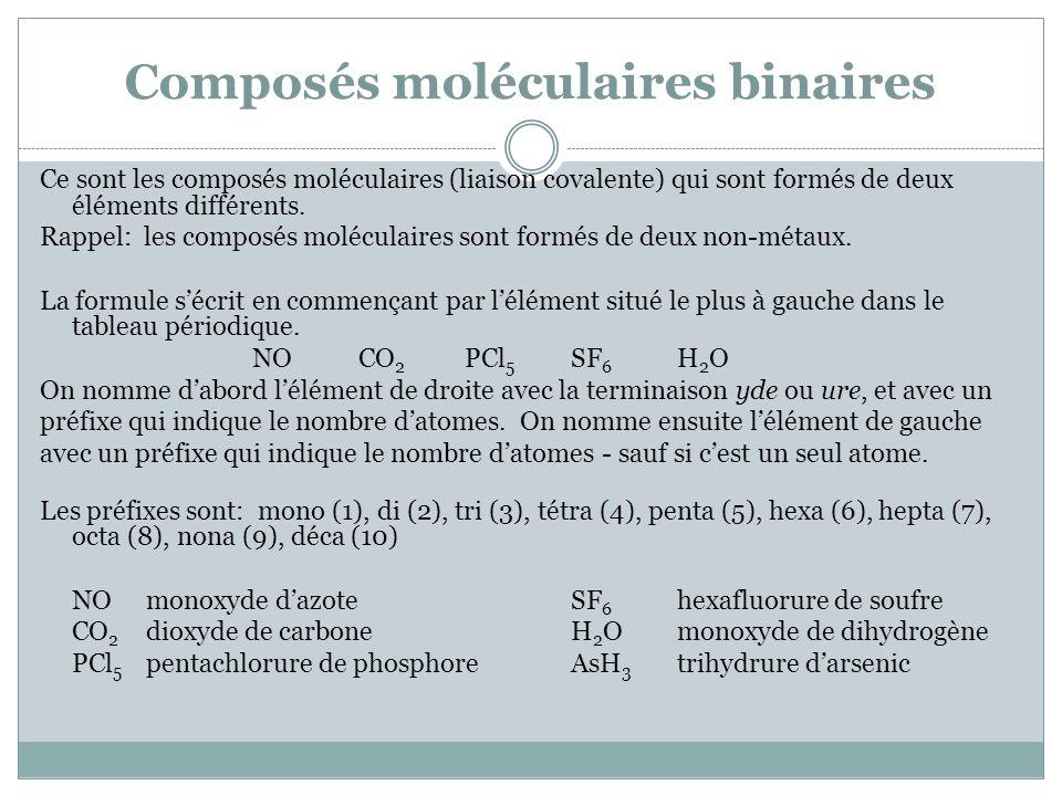 Composés moléculaires binaires