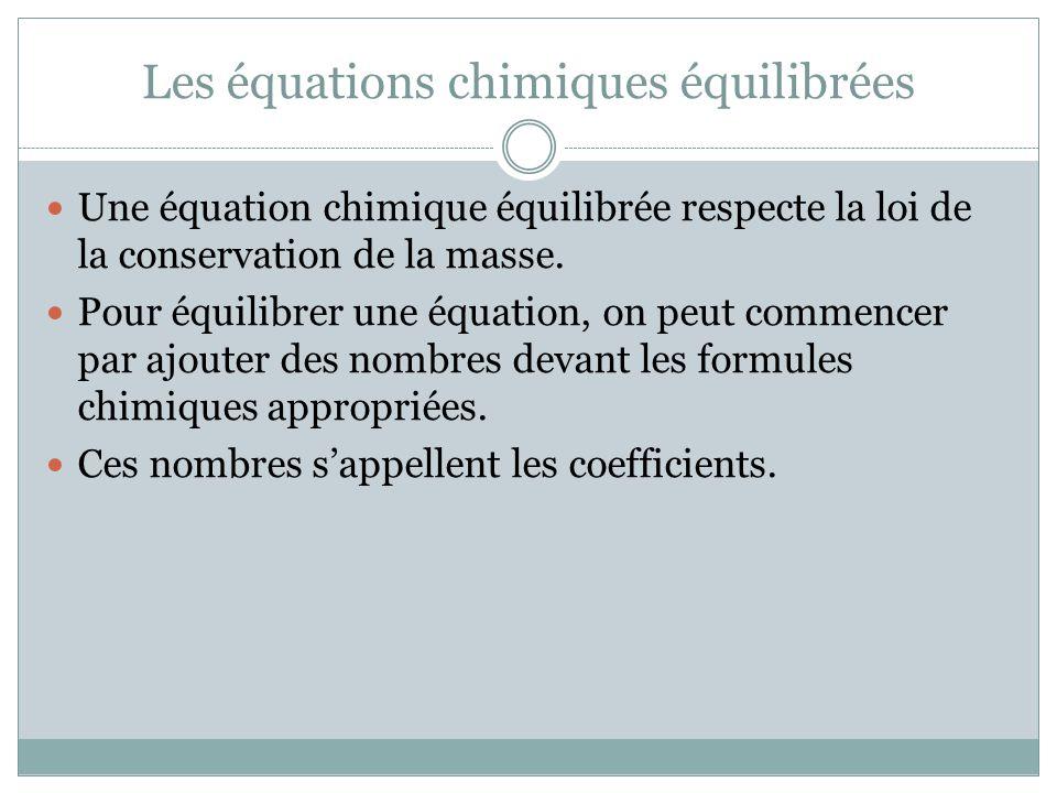 Les équations chimiques équilibrées