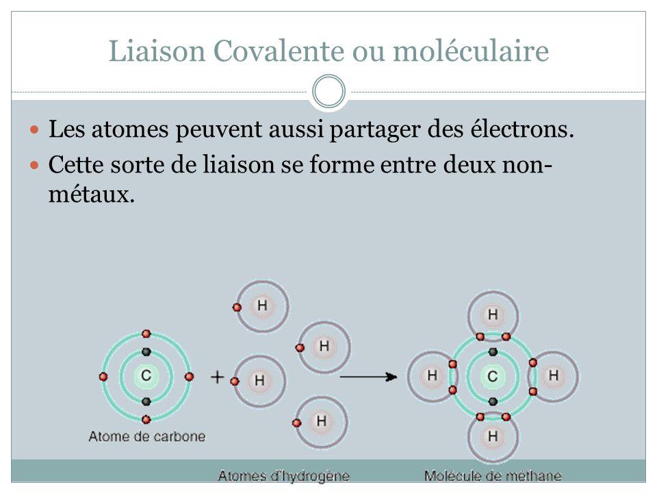 Liaison Covalente ou moléculaire
