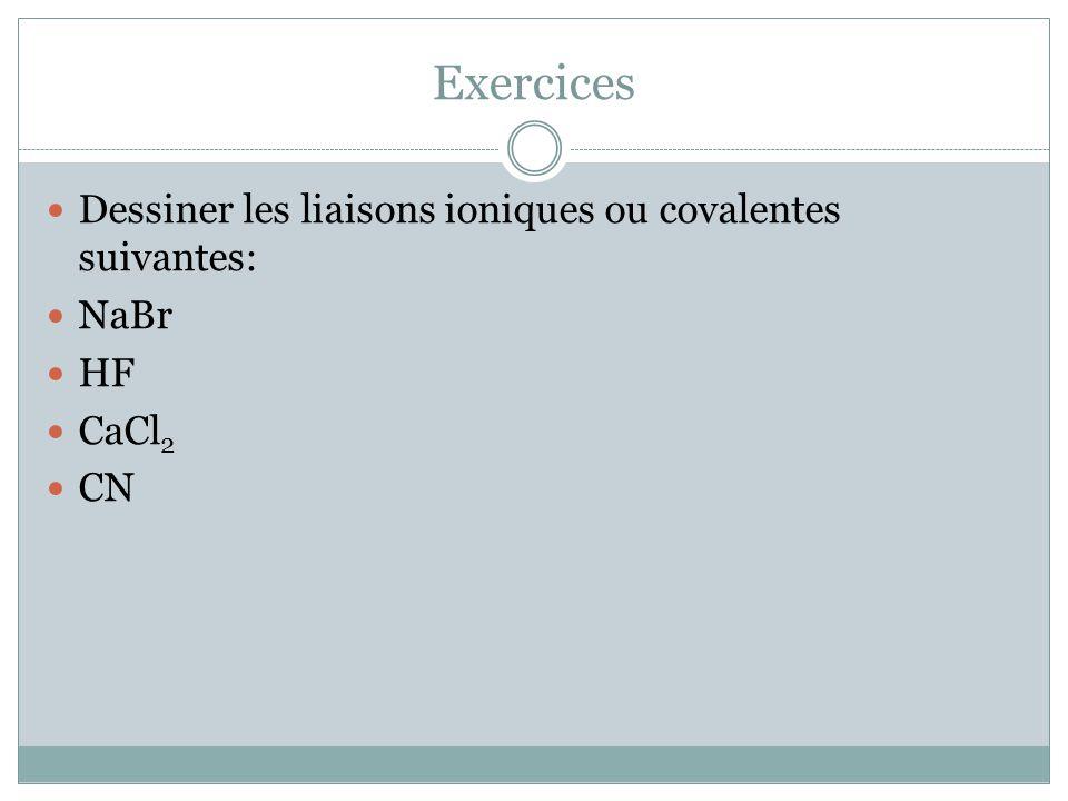 Exercices Dessiner les liaisons ioniques ou covalentes suivantes: NaBr