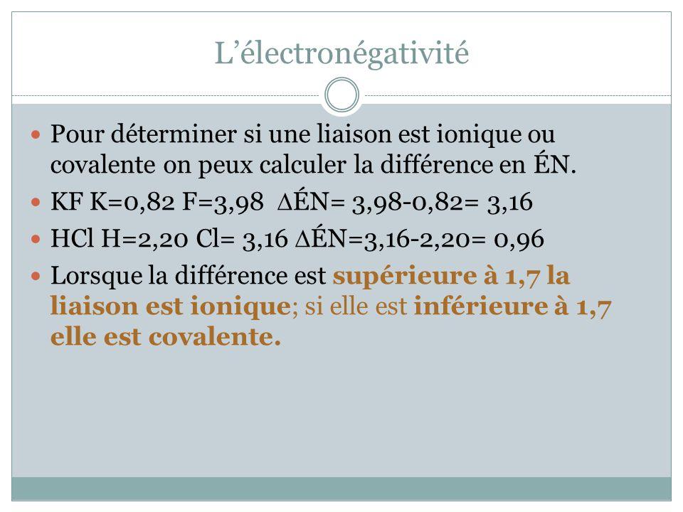 L'électronégativité Pour déterminer si une liaison est ionique ou covalente on peux calculer la différence en ÉN.