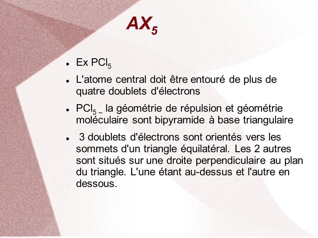 AX5 Ex PCl5. L atome central doit être entouré de plus de quatre doublets d électrons.