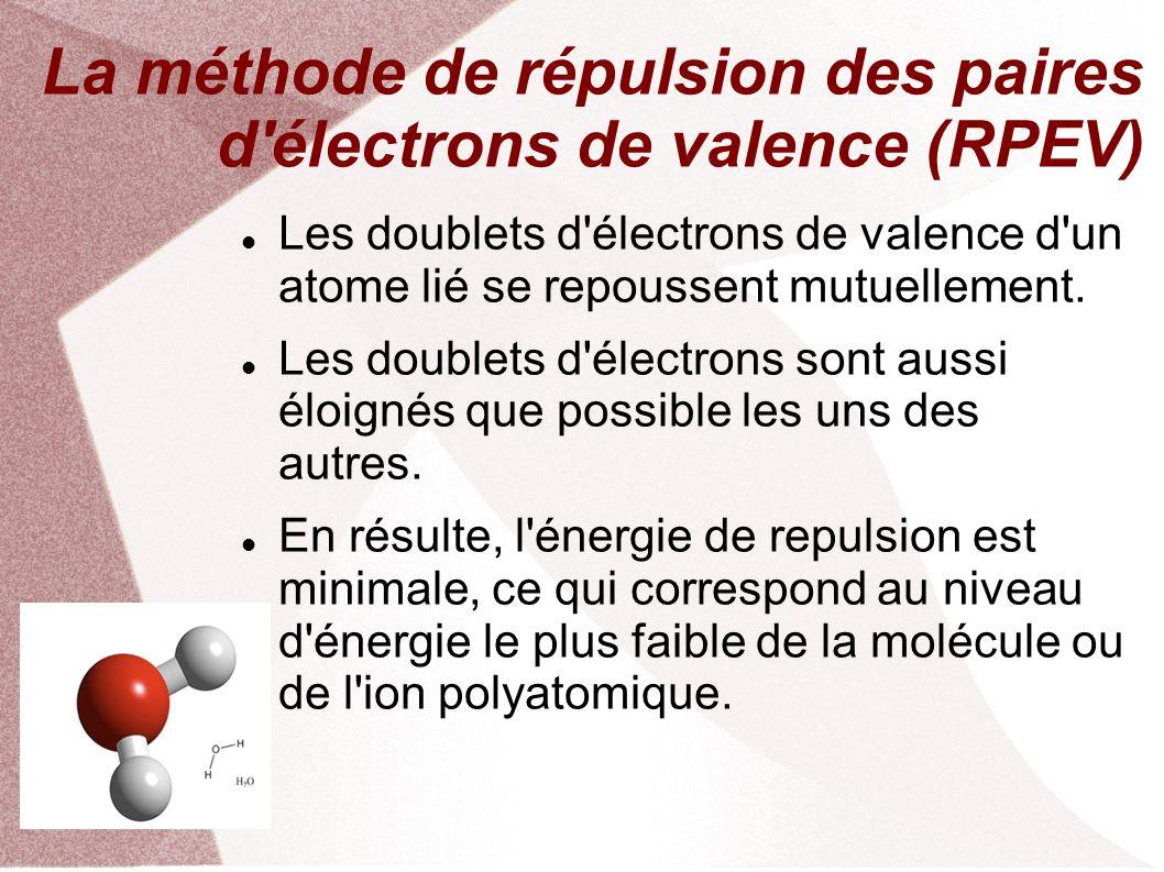 La méthode de répulsion des paires d électrons de valence (RPEV)